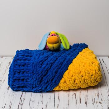Плюшевый детский плед ручной работы 90x110 Желто-синий