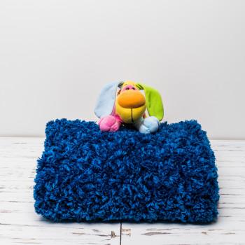 Плюшевый детский плед ручной работы 85x85 см Синий