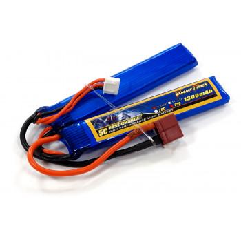 Аккумулятор для страйкбола Giant Power Li-Pol 7.4V 2S 1300mAh 25C 2 лепестка...