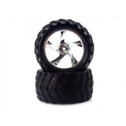 28663V 1:18 Tire And Chrome Rim For Monster Truck (23626v+28662) 2p