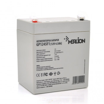 Аккумуляторная батарея MERLION AGM GP1245F1, 12V 4.5Ah  White / Black