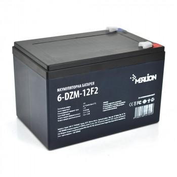 Тягова акумуляторна батарея AGM MERLION 6-DZM-12, 12V 12Ah F2 White / Black